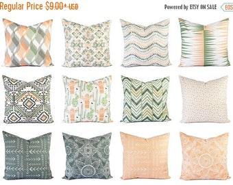 15% OFF SALE Peach Pillow Cover - Green Throw Pillow - 18x18 Pillow Cover - 16 x 16 Decorative Pillow - Grey Pillow Sham - Lumbar Pillow - P