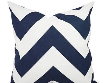 15% OFF SALE Two Navy Decorative Pillow Covers - Two Navy Chevron Throw Pillow Covers - Chevron Pillow - Navy Accent Pillows - Decorative Pi