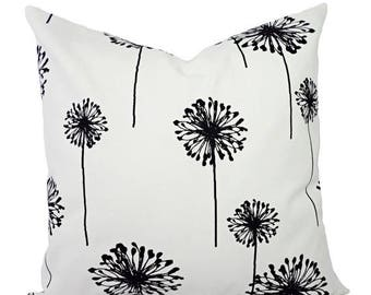 15% OFF SALE Two Decorative Throw Pillow Covers - Black and White Dandelion Print - Toss Pillow - Accent Pillow - Black Pillow Sham - Black