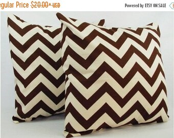 15% OFF SALE 2 Chevron Decorative Pillow Covers Brown and Beige - Brown Throw Pillow Cushion Cover 12x16 12x18 14x14 16x16 18x18 20x20 22x22