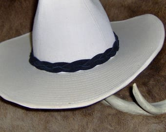 Colored Braided Leather Hat-Band,  One Piece Genuine Cowhide Leather Braided