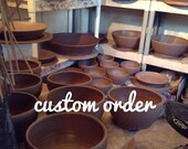 3 carved rim plates, blue and brown
