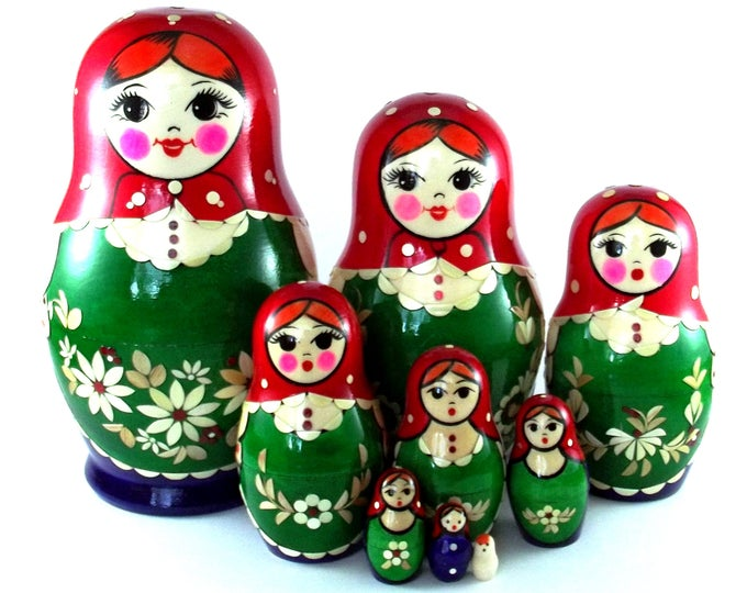 Nesting Dolls 9 pcs Russian matryoshka Babushka doll for kids set Wooden stacking authentic genuine toys Birthday gift for mom Inlaid