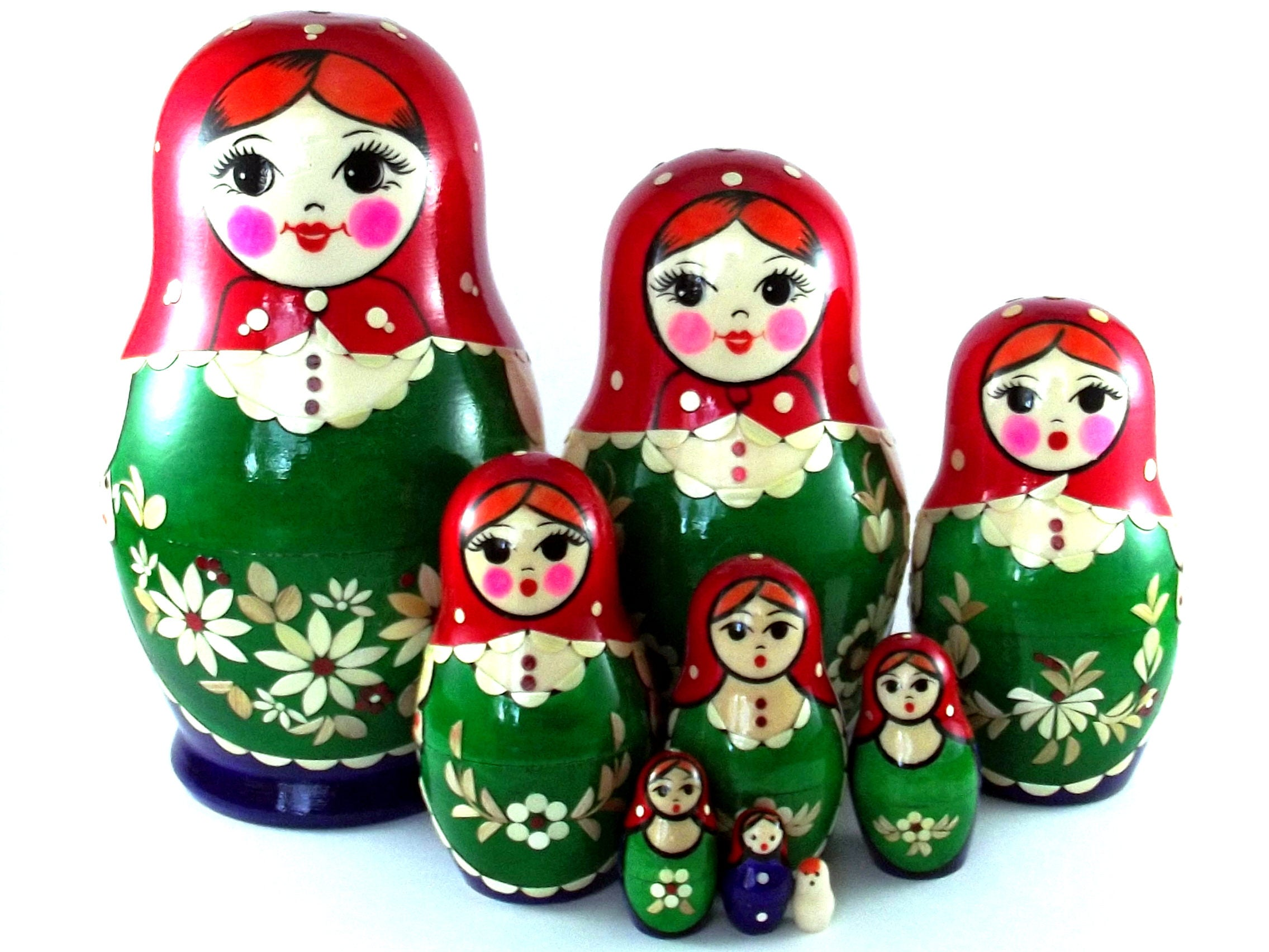 nesting dolls 9 pcs russian matryoshka babushka doll for kids