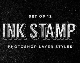 Set of 12 Ink Stamp Photoshop layer styles - Ink stamp text effect - letterpress effect - digital resources - Photoshop layer styles