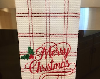 Christmas tea towel, waffle weave cotton, extra large size,machine embroidered .