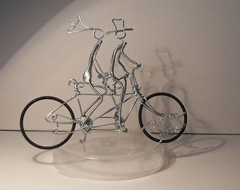 Bicycle Themed Wedding, Wedding Cake Topper, Tandem , Bicycle for Two, Bride and Groom Cake Topper.