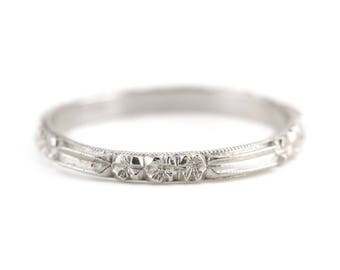 Platinum Rosie Band, Stacking or Wedding Band from The Elizabeth Henry Collection