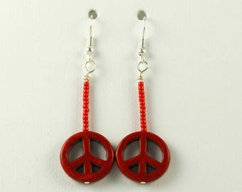 Red Peace Sign Dangle Earrings