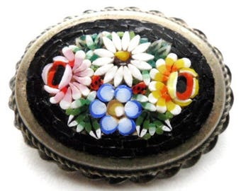 Italian Micro Mosaic Pin/ Oval Black Micromosaic Brooch/ Floral Silver Tone Alpaca Pin  / Yellow Blue Pink white  Flower Roped Bezel
