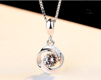 Women Sterling Silver Necklace, 925 Sterling Silver Pendant Necklace, Silver Chain, 18''
