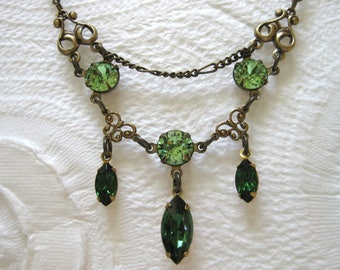 Art Nouveau Necklace Edwardian Style Green Chaton and Navette Reproduction