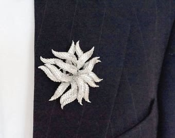 Vintage Silver Tone Boutonniere,Large Brooch,Signed CORO Pegasus,Snakeskin Textured Chunky Lapel Pin,Man Brooch,Collectible Coro Jewelry
