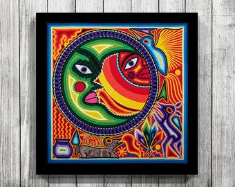 Huichol Print D30010, Mexican Print, Huichol Painting, Mexican Digital Art, Digital Art, Printable Wall Art, Mexican Art, Huichol Art