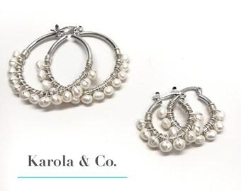Pearls / Silver / Hoops Set of 2