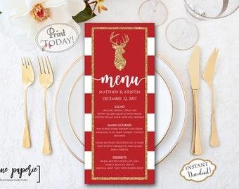 INSTANT DOWNLOAD - Wedding Menu Template - Christmas Dinner Printable Menu - Holiday Floral Menu - Party Menu - Editable Menu Card 0661