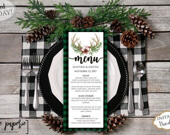 INSTANT DOWNLOAD - Wedding Menu Template - Christmas Dinner Printable Menu - Holiday Floral Menu - Plaid Menu - Editable Menu Card 0661