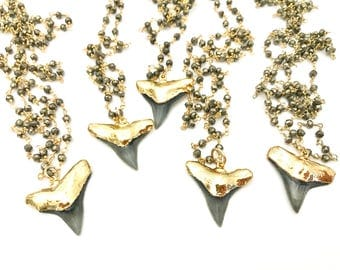 Sharktooth Pyrite Necklace, Long Necklace, Shark Tooth Necklace, Gold Dipped Sharks Tooth, Beach Jewelry, Hawaii Jewelry, Gold Tooth, Gift