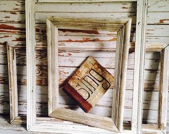 OUTOFBUSINESSCLEARANCE lot of 3 large vintage 1930's solid wood FRAMES,original patina,time worn finish,white frames,cottage decor,nursery w