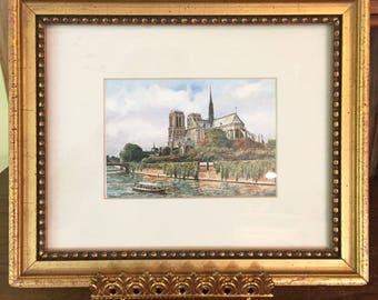 Vintage Miniature Print Notre Dame Cathedral, Parisian Framed Print, Parisian Framed Print, Gift Idea