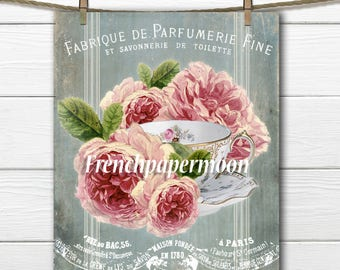 Vintage French Tea Digital Collage, Shabby chic Teacup with Roses, French Typography, Iron on Fabric, Large Image