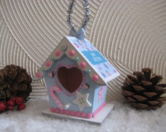 cute christmas hanging birdhouse decoration
