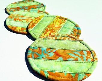 Lime Batik Coasters: tropical decor quilted coasters, teal and yellow-gold drink mats, round mug mats, set of 4 reversible Hawaiian coasters
