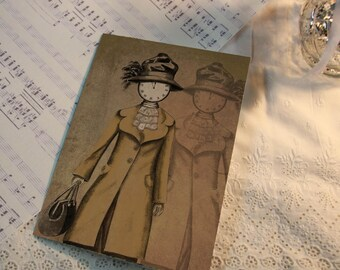 "4 Cartes 10,5*14.8, steampunk victorien  -  oeuvre originale ""Madame Horloge, Lord Harold, Sir Lawrence et Sir Edward"""