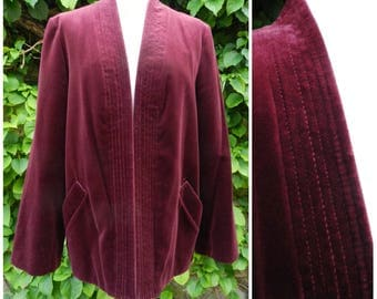 70s COTTON velvet BURGUNDY red maroon smoking collarless jacket U.K. 12 - 14 M