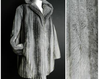 70s FAUX mink fur steel grey sumptuously soft jacket coat oversized collar M ~ L