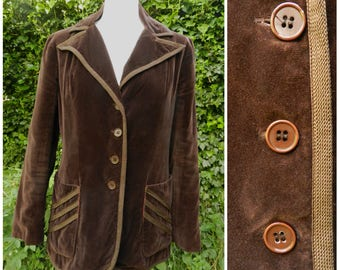 70s VELVET chocolate brown fitted jacket /blazer large pointed lapels U.K. 10 - 12 sm m