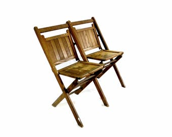 Wood Slatted Folding Chairs, Pair Vintage Wooden Chairs, Event Seating,  Wedding Chairs,