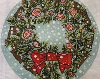 Needlepoint HandPainted CHRISTMAS Susan Wallace Barnes SHELL Wreath 14x14 -Free US Shipping!!!