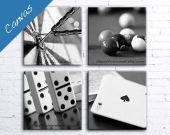 Game room decor, Canvas art, Billiard room decor, Poker art, Black and white canvas, Pool art,Wall art set, Set of 4 // Game room canvas set