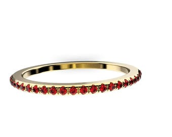14K Yellow  Gold, Pav'e  Setting, Round  Ruby re 1MM ,  Wedding Ring Band