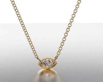 14k Gold classics Pendant Marquise Diamond 0.15 tw