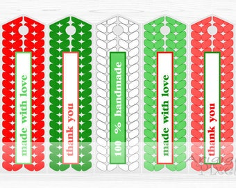 printable bookmarks with text - made with love - thank you - 100% handmade - DIY Christmas long gift tags