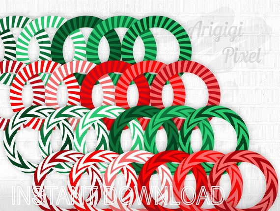 round frames Christmas colors, red green circle border, Christmas clip art, striped frame, chevron frame, commercial  use, instant download