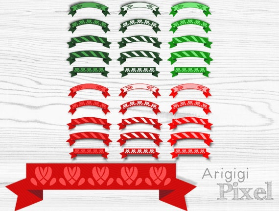 Christmas retro ribbon banner clipart set of 30, decorative, red green, for card, invitation, T-shirt, scrapbooking clip art, download