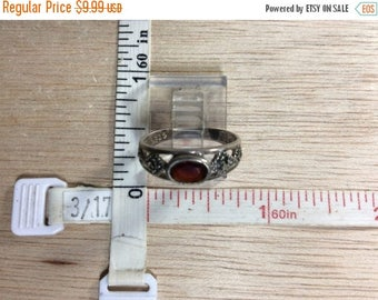 10% OFF 3 day sale Vintage 925 Sterling Silver 2g Garnet Marcasite Ring Size 6 Missing Stones Used