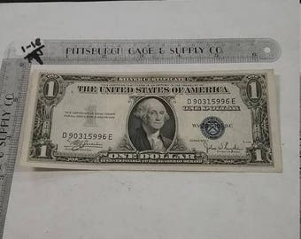 10% OFF 3 day sale Vintage used circulated silver certificate 1935 1 dollar D 90315996 E