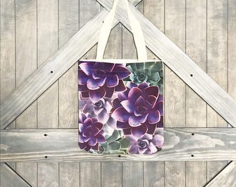 LINEN CANVAS TOTE- Purple Succulent bag, Farmer's market, reusable bag, grocery tote, yoga travel bag, ready to ship, Mother's Day Gift