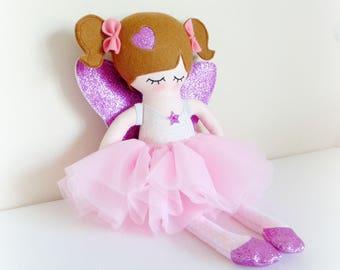 Fairy rag doll, fabric doll, cloth doll, glitter wings, ce toy, ce doll, dolly, girls birthday gift, christmas, room decor