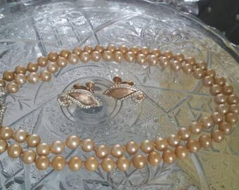 Creamy Gold MARVELLA Pearl Necklace & Earring Set