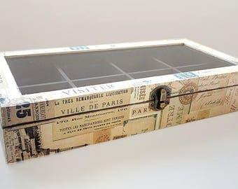Paris wooden tea box  storage tea bags box  box with glass lid  collections & Tea bag box   Etsy Aboutintivar.Com
