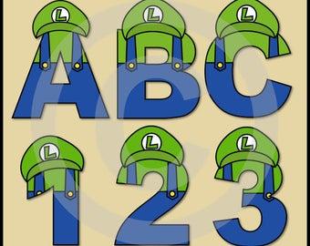 Luigi (Super Mario Brothers) Alphabet Letters & Numbers Clip Art Graphics