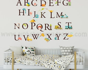 Alphabet Wall Decal - Nursery Wall Decal - Playroom Wall Decal - Educational Wall Decal - Play Room Wall Decal - Custom Decal - 01-0002