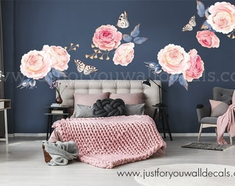Half Order  Flower Wall Decal, Floral Wall Decal, Flower Decals, Watercolor Wall Decals, Watercolor Flower Decal, Nursery Wall Decal 04-0003