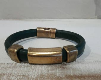 Dark green thick leather strap.  bronze. mixed bracelet