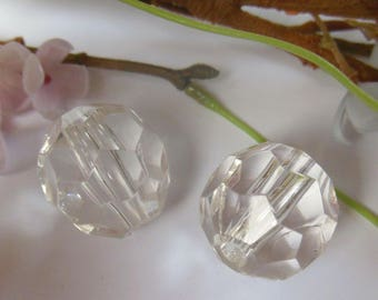 set of 2 white plastic faceted beads